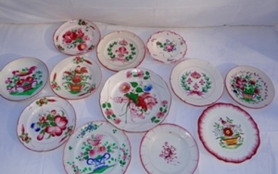 MISC. LOT OF 12 FRENCH FAIENCE ENAMELED PLATES