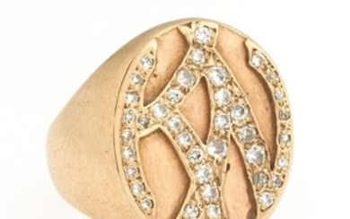 Retro Gold and Diamond Signet Ring