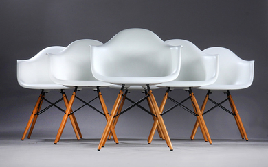 Charles Eames. A set of six white armchairs, model DAW (6)