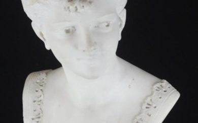 A 19th Century carved marble portrait bust of a young lady.