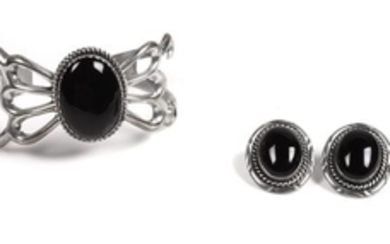 Southwestern Silver and Onyx Jewelry Cuff Bracelet and Earrings