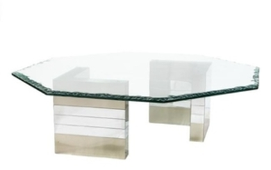 Chrome and Chipped Glass Coffee Table