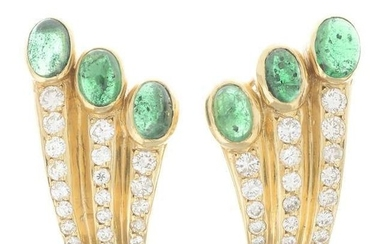 A pair of emerald cabochon and brilliant-cut diamond earrings.