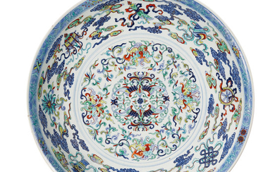 An exceptionally rare and large doucai 'phoenix and lotus' dish