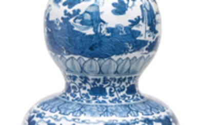 An exceptionally rare and large blue and white 'Immortals' double-gourd vase