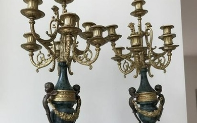 Pair of French Style Ormolu & Marble Candelabra