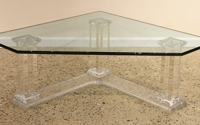 MID CENTURY MODERN LUCITE TABLE GLASS TOP C. 1960