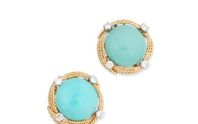 A pair of turquoise and diamond earrings,