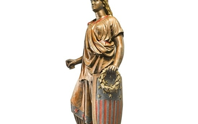 VERY FINE AND RARE CAST AND POLYCHROME PAINTED ZINC 'GODDESS OF LIBERTY', J.L. MOTT IRON WORKS, NEW YORK OR CHICAGO, CIRCA 1875