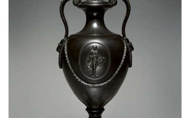 A WEDGWOOD AND BENTLEY BLACK BASALT TWO-HANDLED VASE AND COVER CIRCA 1775