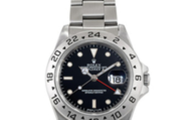 Rolex. A Stainless Steel Dual Time Wristwatch with Date