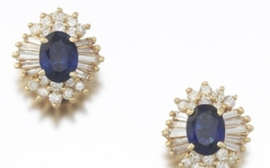 Ladies' Pair of Gold, Blue Sapphire and Diamond Earrings