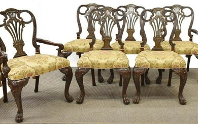 (6) MAITLAND-SMITH CHIPPENDALE STYLE DINING CHAIRS