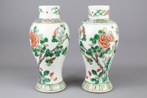 A Pair of Chinese 19th Century Famille Vert Vases; approx 31...