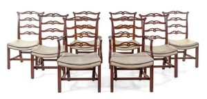 A Set of Eight Chippendale Style Mahogany Dining Chairs
