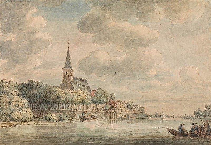DIRK VERRIJK (Haarlem 1734 1786 The Hague) A River Scene with a View of Lekkerkerk.