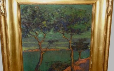 WALTER RUSSELL OIL PAINTING IPSWICH MASS. NEWCOMB FRAME