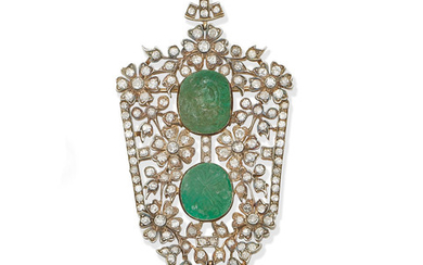 A carved emerald and diamond brooch/pendant,