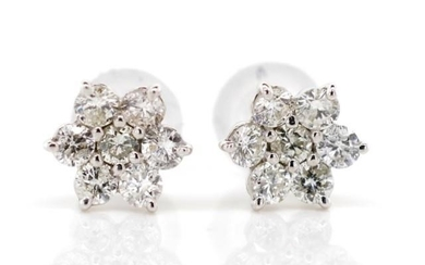 Diamond cluster set 18ct white gold stud earrings. Set with ...