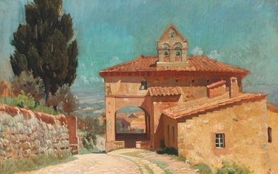 Knud Sinding: View from the entrance to an Italian mountain village. Signed with monogram. Oil on canvas. 41.5×58.5 cm.