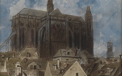 LOUIS ADOLPHE HERVIER (Paris 1818 1879 Paris) Notre Dame and the Île de la Cité, Paris.