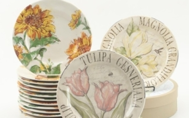 Lot Art Pier 1 Imports Sunflower Blooms And Pottery Barn Floral Plates