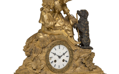 A French Parcel Gilt Bronze Figural Mantle Clock (early 20th centu)