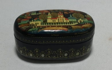 ANTIQUE USSR RUSSIAN BLACK LACQUER BOX CATHEDRALS