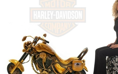 A Magnificent Large Hand Made Wood Carved Motorcycle