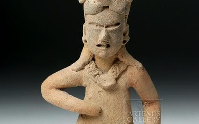 Rare Olmec Pottery Seated Male Figure