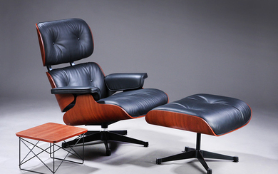 Charles Eames, Lounge chair with matching footstool and small LTR table, Mahogany Winter Edition 2018 (3)