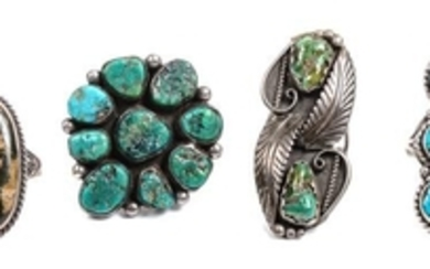 Four Southwestern Silver and Turquoise Rings