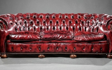 American Tufted Leather Chesterfield Sofa