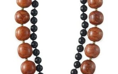 Black Onyx, Coral, Agate and Diamond Necklace