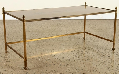BRASS COFFEE TABLE WITH GOLD GLASS TOP