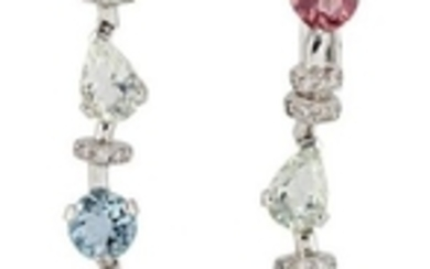 A pair of diamond and gem articulated...