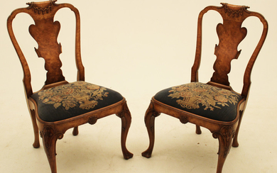 PR. OF ENGLISH QUEEN ANNE STYLE CHAIRS
