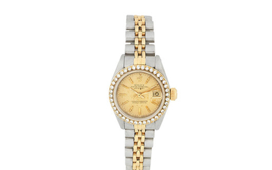 Rolex. A lady's stainless steel and gold diamond set automatic calendar bracelet watch