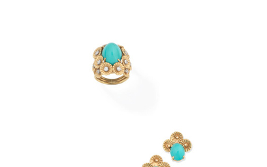A turquoise and diamond ring and earring suite,