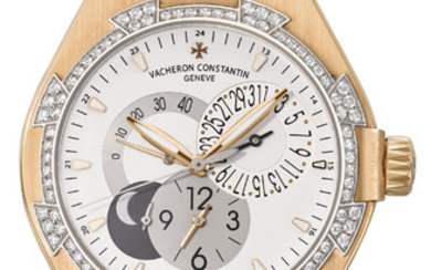 VACHERON CONSTANTIN. A FINE AND ATTRACTIVE 18K PINK GOLD AND DIAMOND-SET AUTOMATIC DUAL TIME WRISTWATCH WITH SWEEP CENTRE SECONDS, DATE, POWER RESERVE, DATE AND NIGHT INDICATOR AND CERTIFICATE OF ORIGIN, SIGNED VACHERON & CONSTANTIN, GENÈVE, OVERSEAS...