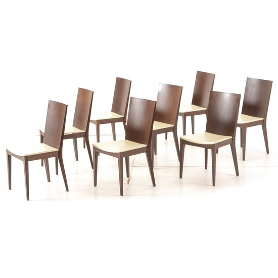 Lot Art Set Of Eight Leather Seated Dining Chairs By Calligaris