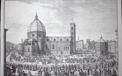 Zocchi, Giuseppe: View of the Duomo in Florence with the procession of the Corpus Domini, Year 1754