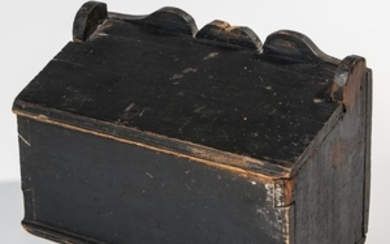 Black-painted Pine Lift-top Wall Box