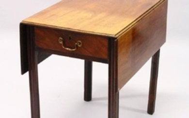A GEORGE III MAHOGANY PEMBROKE TABLE, with a drawer to