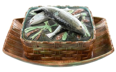 George Jones Majolica Sardine Lidded Box