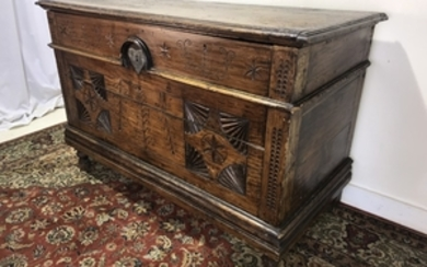 PROVINCIAL CARVED MIXED WOOD WEDDING COFER