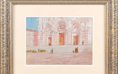 """AMERICAN SCHOOL, Early 20th Century, """"Siena, Feb. 16. 05"""",, Watercolor and gouache on paper, 10"""" x 14"""". Framed 21"""" x 25""""."""