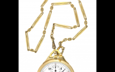 ANONYMOUS, Chronograph Gent's 18K gold pocket watch, with chain...