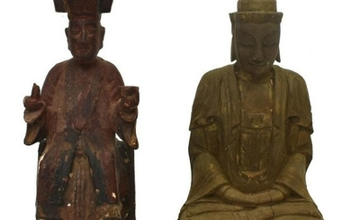 (2) CHINESE CARVED WOOD TEMPLE FIGURES