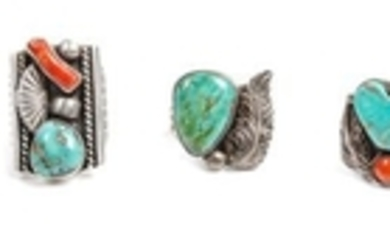 Five Southwestern Silver and Turquoise Rings